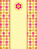 Yellow Pink Retro Card with Leaf Flower Pattern Stock Photo