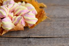 Yellow and pink spiral marshmallows on yellow fall leaves and on a vintage wooden background with copy space for text Stock Photo