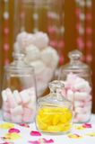 Yellow and pink sweet table or candy bar Stock Photos