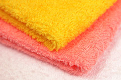 Yellow and pink towel Royalty Free Stock Photography