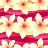 Yellow and pink tropical floral seamless pattern on wave backgro Stock Photography