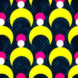 Yellow pink and white abstract geometric objects on a dark background. Seamless vector pattern. (vector eps 10 Stock Photo