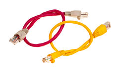 Yellow and pink wisted pair patchcords. Stock Image