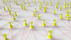 Yellow pins and threads compose complicated network stock video footage