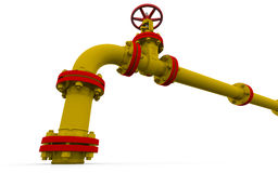 Yellow pipe and valve Stock Photo