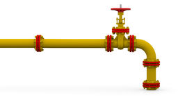 Yellow pipe and valve Stock Images