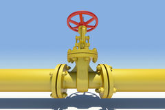 Yellow pipe and valve. Sky as backdrop Royalty Free Stock Images