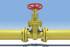 Yellow pipe and valve. Sky as backdrop Stock Images
