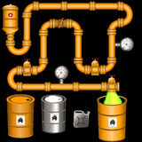 Yellow pipeline background. Illustration of a yellow industrial pipeline system, background image vector illustration