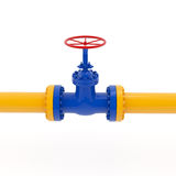 Yellow Pipeline with Red Valve Stock Photo