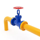 Yellow Pipeline with Red Valve Stock Photography