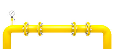 Yellow pipes. Yellow pipeline with edges and pressure gauge Royalty Free Stock Photos