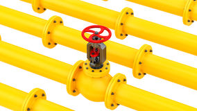 Yellow pipes with a red valve Stock Images