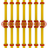 Yellow pipes and valves Royalty Free Stock Photo