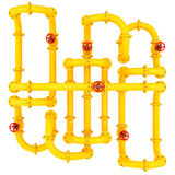 Yellow pipes with valves Royalty Free Stock Images