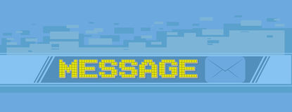Yellow pixel massage screen on blue background Stock Images