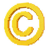 Yellow pixelated copyright symbol. Yellow copyright symbol made of glossy cubes isolated on white Royalty Free Stock Image