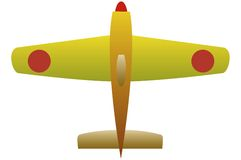 Yellow plane. Toy airplane which has two red dots on wings Royalty Free Stock Image