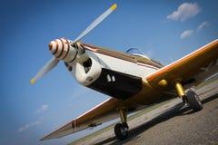 Yellow plane propeller Stock Photo