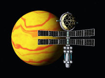 Yellow Planet with Space Probe Royalty Free Stock Image