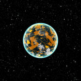 Yellow planet in space Stock Photography