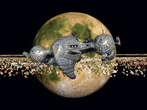 Yellow Planet and Spacecraft Royalty Free Stock Image