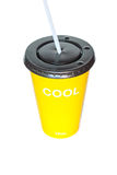 Yellow plasstic cup Royalty Free Stock Photography