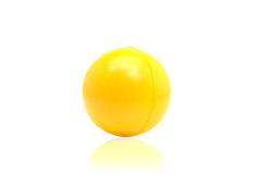 Yellow plastic ball isolated on white background.  Stock Photo