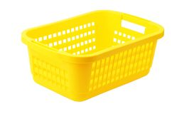 Yellow plastic basket Royalty Free Stock Photo