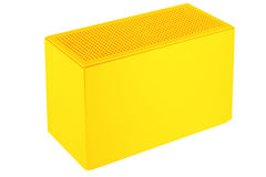 Yellow plastic box. Case with ventilating holes in on the upper panel. Isolated on white vector illustration