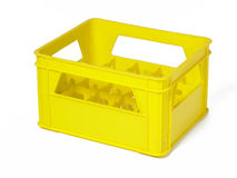 Yellow plastic box for bottles transportation Stock Photos
