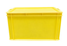 Yellow plastic box packaging of finished goods product Royalty Free Stock Photography
