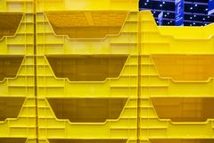 Yellow plastic box shelf for warehouse ;. Close up Royalty Free Stock Photography