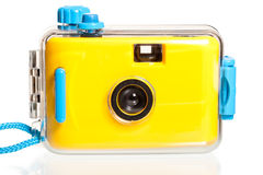 Yellow plastic camera for underwater shooting Royalty Free Stock Photography