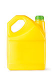 Yellow plastic canister for household chemicals. Standing on a white Royalty Free Stock Images