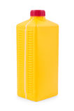 Yellow plastic canister isolated on white Stock Photo