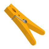 Yellow plastic clothes pin Stock Photography
