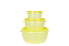 Yellow plastic containers Stock Photo