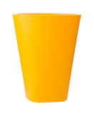 Yellow plastic cup isolated on white. 