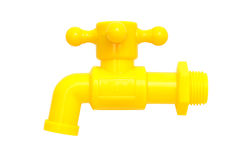 Yellow plastic faucet Stock Photography