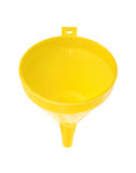 Yellow plastic funnel on white Royalty Free Stock Image