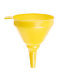 Yellow plastic funnel on white Stock Photo