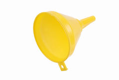 Yellow plastic funnel on white Stock Photography