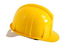 Yellow plastic hard hat Royalty Free Stock Photos