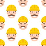 Yellow plastic helmet or construction safety hard hat engineer head safe equipment seamless pattern vector illustration. Yellow plastic helmet or construction royalty free illustration