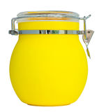 Yellow plastic jar isolated on white stock image