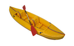 Yellow plastic kayak isolated on white Stock Photos