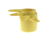 Yellow Plastic Measuring Cups Royalty Free Stock Photography
