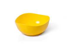 Yellow plastic microwave bowl Royalty Free Stock Image