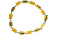 Yellow plastic necklace Royalty Free Stock Images